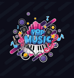 colorful detailed pop music can be vector image