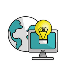 Computer with idea bulb and global data vector