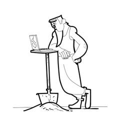 Computer work man shovel vector