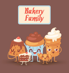 cute bakery kawaii family with vector image