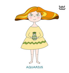 cute girl in the form of zodiac sign aquarius vector image