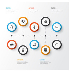 digital icons set collection of power on router vector image