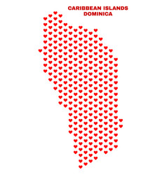 dominica island map - mosaic of valentine hearts vector image