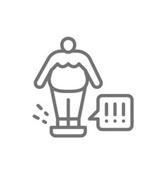 fat man on scales weight control line icon vector image