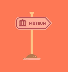 Flat icon on background museum sign vector
