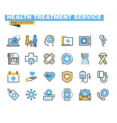 flat line colorful icons collection healthcare vector image