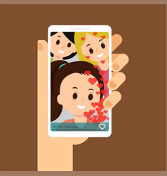 flat of video call with friends vector image