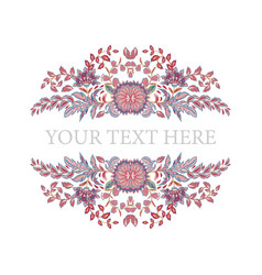 floral frame hand draw fantasy flowers round vector image