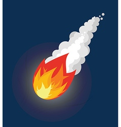 Flying Meteor Fireball with smoke Flying Comet in vector image