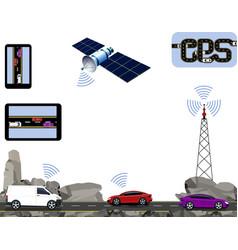 Gps navigation road highways along the rocks vector