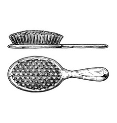 Hair brush side view and front view vector