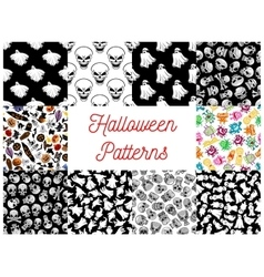 Halloween cartoon seamless pattern backgrounds vector