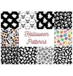 Halloween cartoon seamless pattern backgrounds vector image