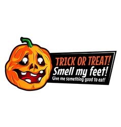 Halloween pumpkin sticker with funny text vector