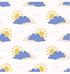 hand drawn cloud and sun vector image
