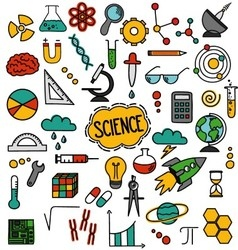 Hand drawn science pack vector image