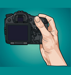 hand holding professional photo camera vector image