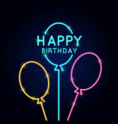 Happy birthday minimalistic linear poster in neon vector