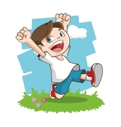 Happy cartoon boy colorful design vector image