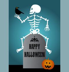 Happy halloween graphic with skeleton bird vector