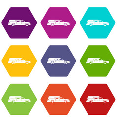 Hearse icon set color hexahedron vector