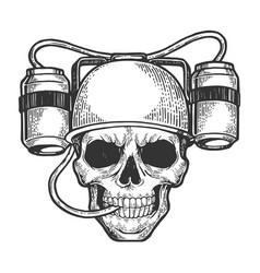 human skull with beer soda helmet sketch engraving vector image