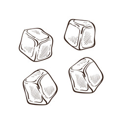 Ice cubes isolated sketches cold pieces cooling vector