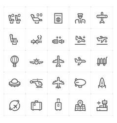 icon set - airplane and airport vector image