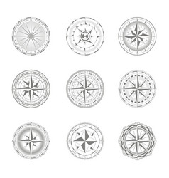 icons with compass rose for your design vector image