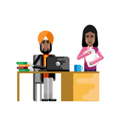 Indian businessman working at laptop vector