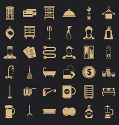Inn service icons set simple style vector