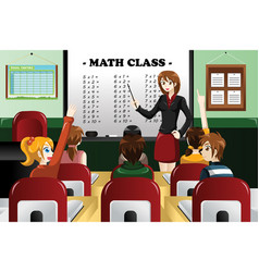 kids studying math in the classroom vector image