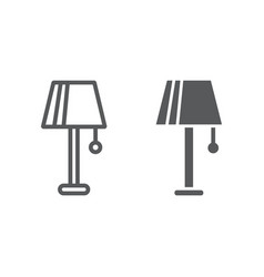 lamp line and glyph icon furniture and electric vector image