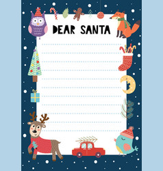 letter to santa claus a4 template with cute vector image