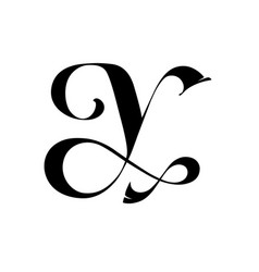 letter y in gothic classic style monogram vector image