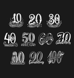 lettering numbers for anniversary year vector image