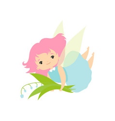 little forest fairy with bouquet lily valley vector image