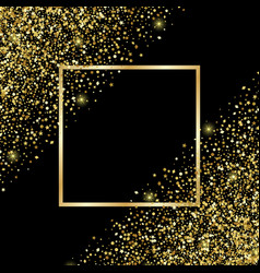 luxury and golden glitter square festive frame vector image