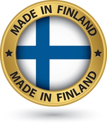 Made in Finland gold label with flag vector
