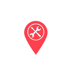 map pointer with service flat icon navigation vector image