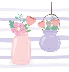 mason jars hanging flowers rustic romantic vector image