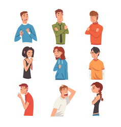 men and women with different expressions set male vector image