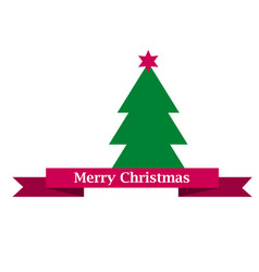 Merry christams sign on red ribbon and green vector