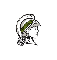 Minerva Head Side Profile Retro vector