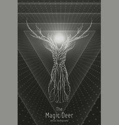 monochrome geometric deer vector image