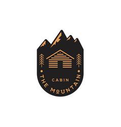 Mountain cabin emblem logo design template vector