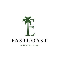 palm tree e letter mark logo icon vector image