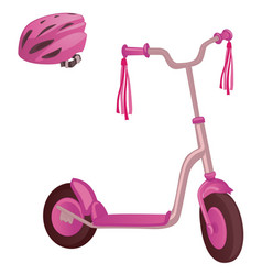 Pink color kick scooter and protective helmet vector