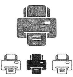 Printer icon set - sketch line art vector