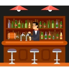 Pub Bar Restaurant Cafe Barkeeper Character Symbol vector